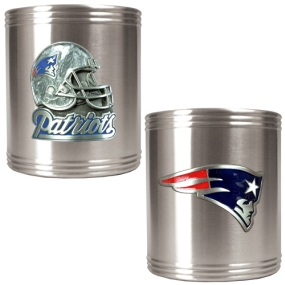 New England Patriots 2pc Stainless Steel Can Holder Set