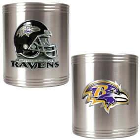 Baltimore Ravens 2pc Stainless Steel Can Holder Set