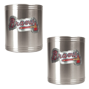 Atlanta Braves 2pc Stainless Steel Can Holder Set- Primary Logo