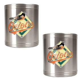 Baltimore Orioles 2pc Stainless Steel Can Holder Set- Primary Logo