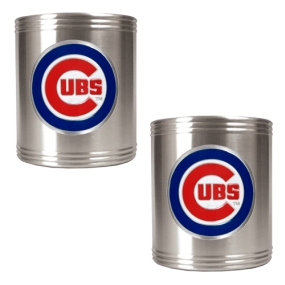 Chicago Cubs 2pc Stainless Steel Can Holder Set- Primary Logo