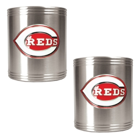 Cincinnati Reds 2pc Stainless Steel Can Holder Set- Primary Logo