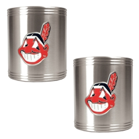 Cleveland Indians 2pc Stainless Steel Can Holder Set- Primary Logo