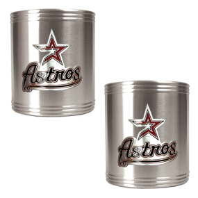 Houston Astros 2pc Stainless Steel Can Holder Set- Primary Logo