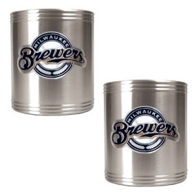 Milwaukee Brewers 2pc Stainless Steel Can Holder Set- Primary Logo
