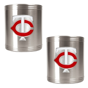 Minnesota Twins 2pc Stainless Steel Can Holder Set- Primary Logo