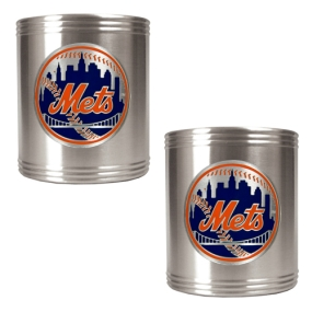 New York Mets 2pc Stainless Steel Can Holder Set- Primary Logo