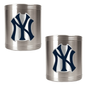 New York Yankees 2pc Stainless Steel Can Holder Set- Primary Logo