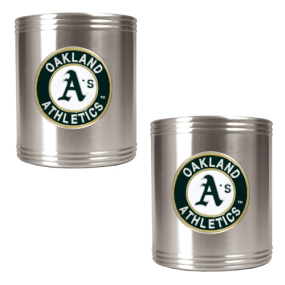 Oakland A's 2pc Stainless Steel Can Holder Set- Primary Logo