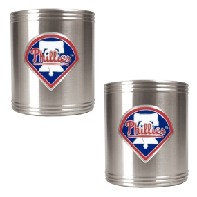 Philadelphia Phillies 2pc Stainless Steel Can Holder Set- Primary Logo