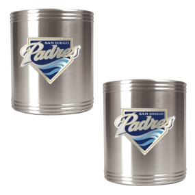 San Diego Padres 2pc Stainless Steel Can Holder Set- Primary Logo