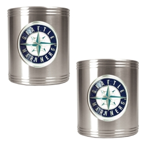 Seattle Mariners 2pc Stainless Steel Can Holder Set- Primary Logo