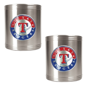 Texas Rangers 2pc Stainless Steel Can Holder Set- Primary Logo