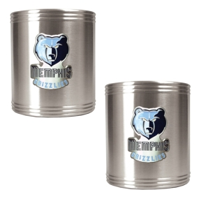 Memphis Grizzlies 2pc Stainless Steel Can Holder Set