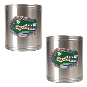 Florida Gators 2pc Stainless Steel Can Holder Set