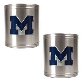 Michigan Wolverines 2pc Stainless Steel Can Holder Set