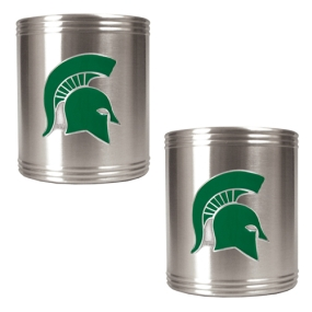 Michigan State Spartans 2pc Stainless Steel Can Holder Set