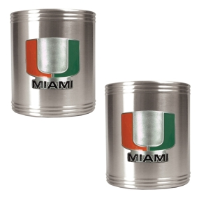 Miami Hurricanes 2pc Stainless Steel Can Holder Set