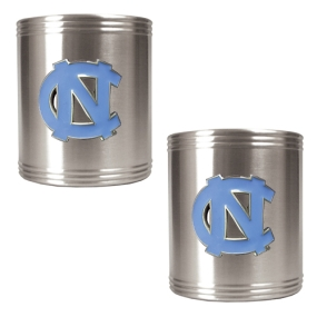 UNC Tar Heels 2pc Stainless Steel Can Holder Set