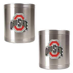 Ohio State Buckeyes 2pc Stainless Steel Can Holder Set