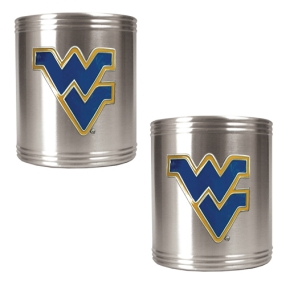 West Virginia Mountaineers 2pc Stainless Steel Can Holder Set