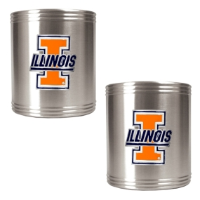 Illinois Fighting Illini 2pc Stainless Steel Can Holder Set