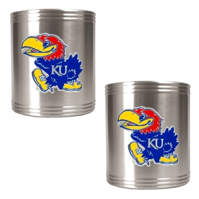 Kansas Jayhawks 2pc Stainless Steel Can Holder Set