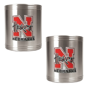 Nebraska Cornhuskers 2pc Stainless Steel Can Holder Set