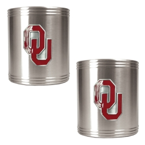 Oklahoma Sooners 2pc Stainless Steel Can Holder Set