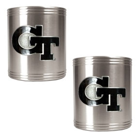 Georgia Tech Yellow Jackets 2pc Stainless Steel Can Holder Set