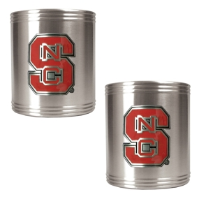 N.C. State Wolfpack 2pc Stainless Steel Can Holder Set