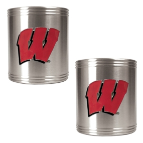 Wisconsin Badgers 2pc Stainless Steel Can Holder Set