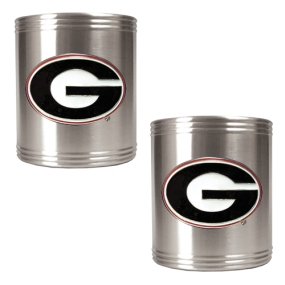 Georgia Bulldogs 2pc Stainless Steel Can Holder Set