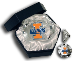 ILLINOIS U FIGHTING ILLINILOGO DIAMOND GLASS