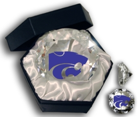 KANSAS STATE WILDCATS LOGO DIAMOND GLASS