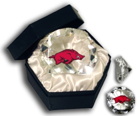 ARKANSAS U RAZORBACKS MASCOT DIAMOND GLASS