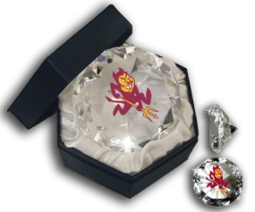 ASU SUN DEVIL MASCOT DIAMOND GLASS