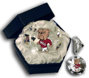 MISSISSIPPI STATE BULLDOG MASCOT DIAMOND GLASS