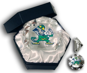 NOTRE DAME FIGHTING IRISH MASCOT DIAMOND GLASS