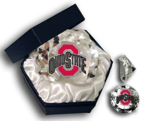 OHIO STATE U BUCKEYES LOGO DIAMOND GLASS