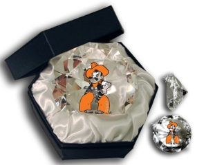 OKLAHOMA STATE COWBOY MASCOT DIAMOND GLASS