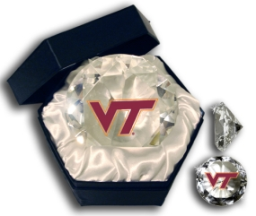 VIRGINIA TECH HOKIES LOGO DIAMOND GLASS