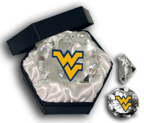 WEST VIRGINIA MOUNTAINEERS LOGO DIAMOND GLASS