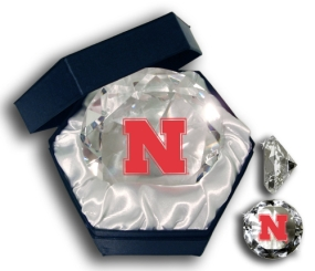 NEBRASKA U CORNHUSKERS LOGO DIAMOND GLASS