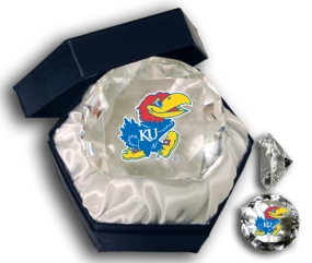 KANSAS U MASCOT DIAMOND GLASS