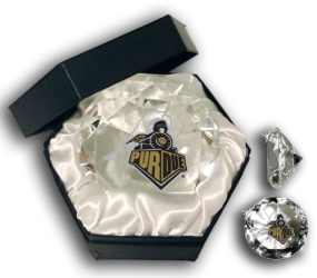 PURDUE U BOILERMAKERS LOGO DIAMOND GLASS