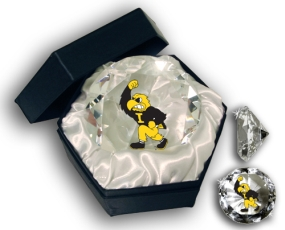 IOWA U HAWKEYES MASCOT DIAMOND GLASS
