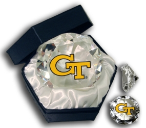 GEORGIA TECH YELLOW JACKETS MASCOT DIAMOND GLASS