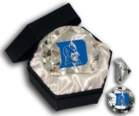 DUKE BLUE DEVILS MASCOT DIAMOND GLASS