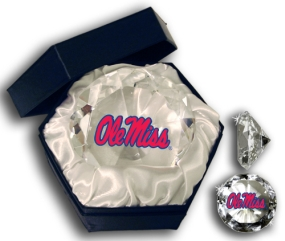 MISSISSIPPI U REBELS LOGO DIAMOND GLASS